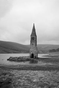 Derwent Church tower, uncovered during 1940s drought