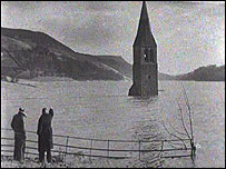Derwent Church tower, visible above the water line until it was demolished in 1947 to prevent people swimming out to it.