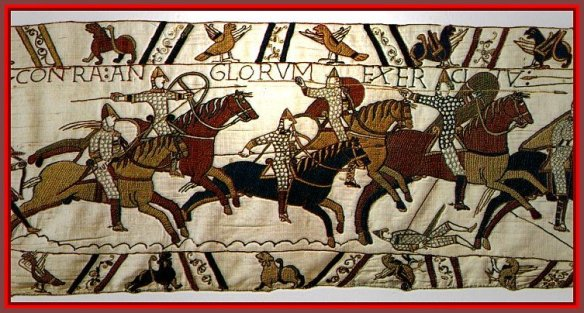 The Bayeaux Tapestry, depicting the Norman Invasion of England